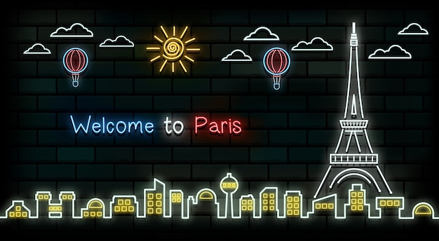 Франция и париж путешествие и путешествие неоновый фон