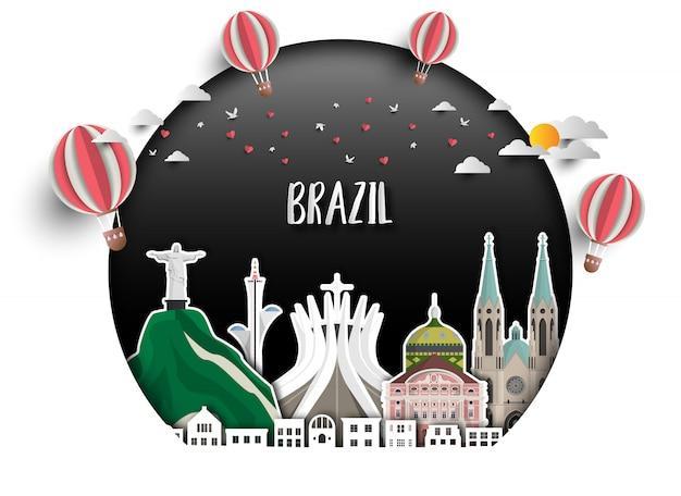 ブラジルのランドマークグローバル旅行と旅の紙の背景。