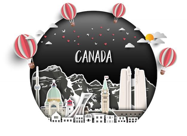 カナダのランドマークグローバル旅行と旅の用紙の背景。