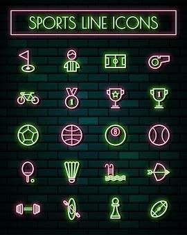 スポーツサイン細いネオン輝く線のアイコンを設定します。