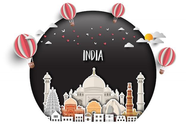 インドのランドマークグローバル旅行と旅の紙の背景。