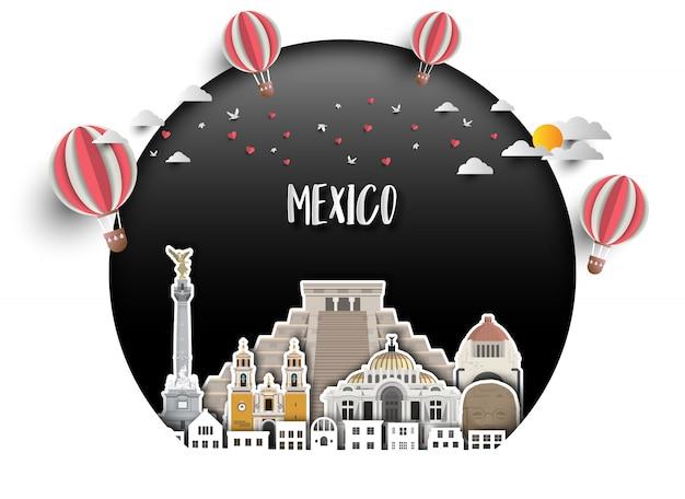 メキシコのランドマークグローバル旅行と旅の紙の背景。