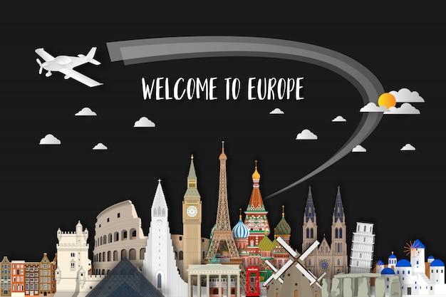 ヨーロッパの有名なランドマークペーパーアート