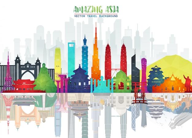 アジアの有名なランドマークペーパーアート。世界旅行と旅の風景