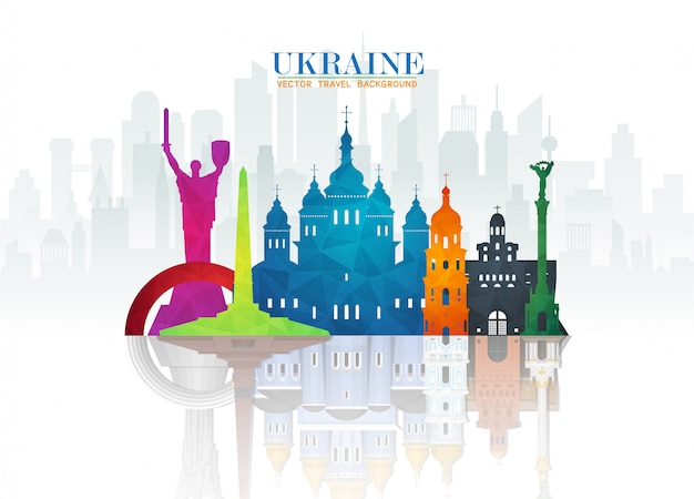 ウクライナのランドマーク世界旅行と旅の紙の背景。