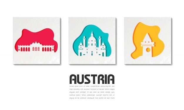 Ориентир австрии глобальное путешествие и путешествие в вырезке из бумаги