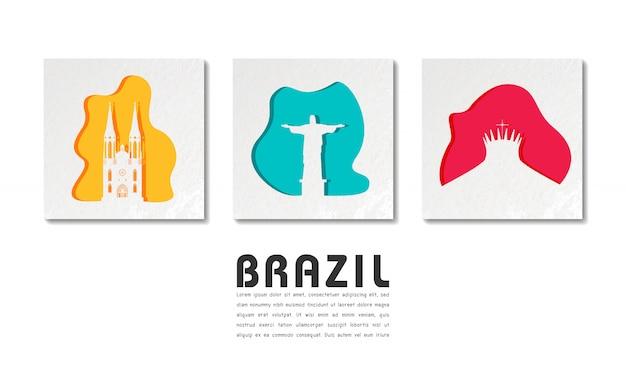 Бразилия ориентир глобальное путешествие и путешествие в вырезке из бумаги