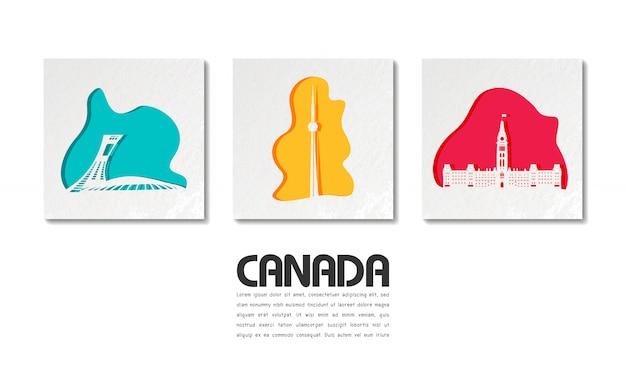 紙のカットでカナダのランドマークグローバル旅行と旅