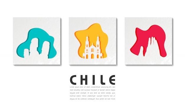Чили ориентир глобальное путешествие и путешествие в вырезке из бумаги
