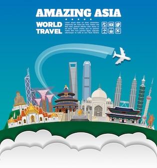 Азия знаменитый ориентир бумаги искусства. глобальные путешествия и путешествие инфографики.