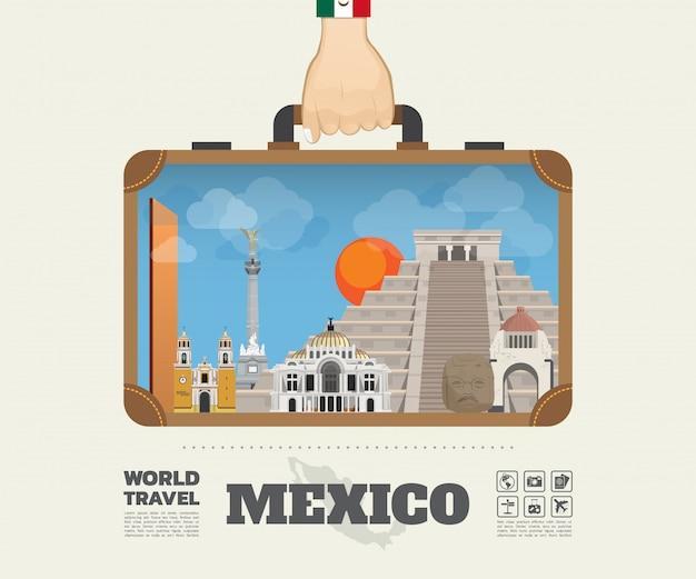メキシコのランドマークの世界旅行と旅インフォグラフィックバッグを運ぶ手。