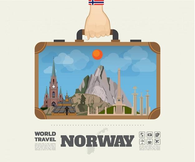 ノルウェーのランドマークの世界旅行と旅のインフォグラフィックバッグを運ぶ手。