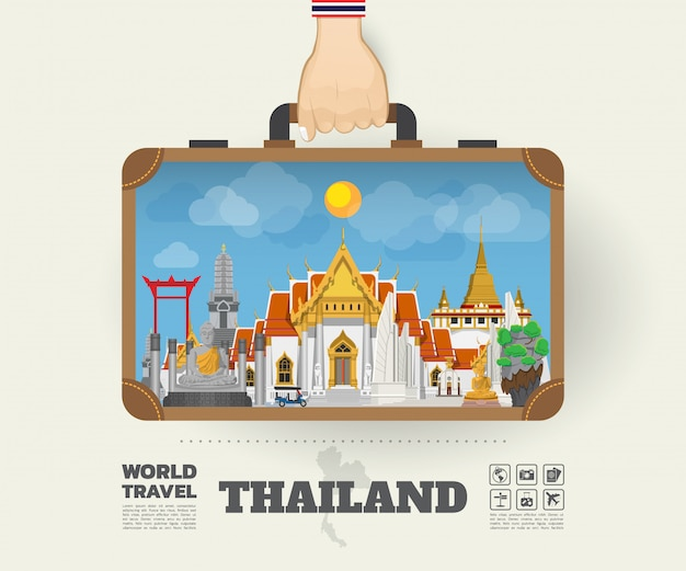 タイのランドマークの世界旅行と旅インフォグラフィックバッグを運ぶ手。
