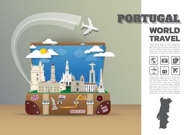 Португалия дубай ориентир глобальные путешествия и путешествие инфографики багажа. шаблон дизайна / иллюстрация