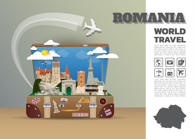 Румыния ориентир глобальные путешествия и путешествие инфографики багажа. дизайн шаблона. / иллюстрация.
