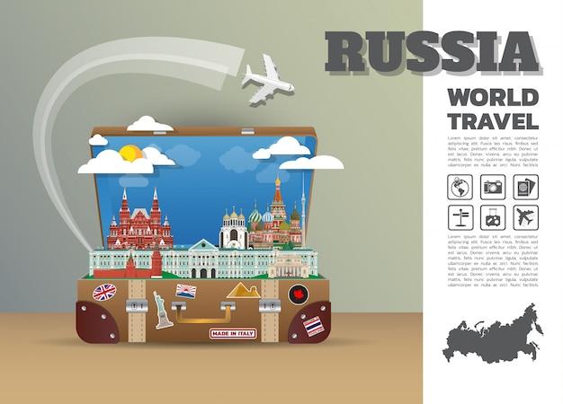 Россия ориентир глобальные путешествия и путешествие инфографики багажа. дизайн шаблона. / иллюстрация.