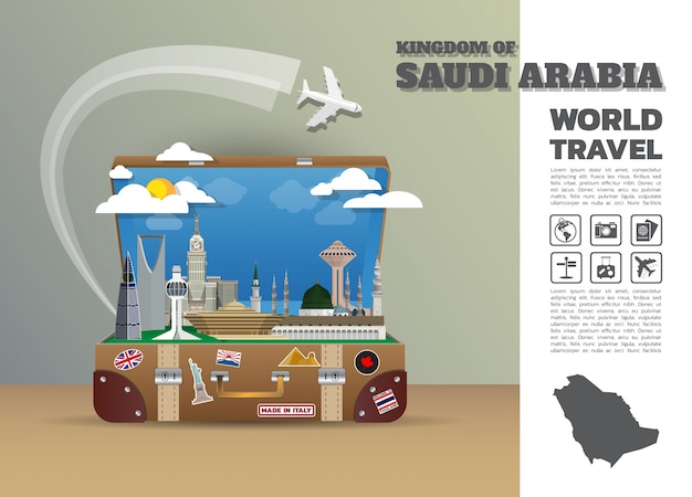 サウジアラビアランドマークグローバル旅行と旅インフォグラフィックの荷物。デザインテンプレート/イラスト。