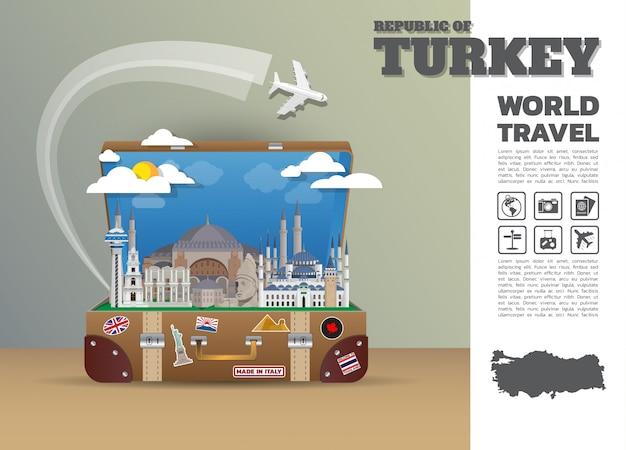 Турция ориентир глобальные путешествия и путешествие инфографики багажа. дизайн шаблона. / иллюстрация.