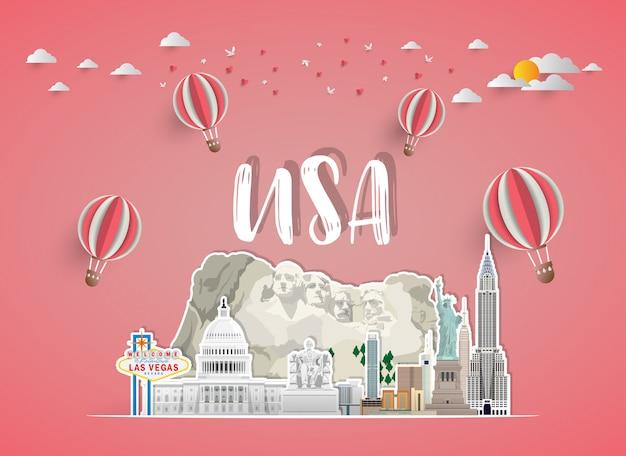 Справочная информация о путешествии и путешествии ориентир ориентира соединенных штатов америки глобальная. презентация.