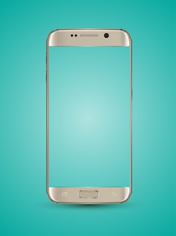 ゴールドスマートフォンモックアップ透明スクリーン。
