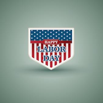 幸せな労働日アメリカの盾のスタイル。ベクトル図。