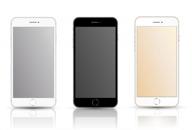 スマートフォンの現実的なベクトルモックアップ