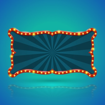 輪郭に電球と抽象的なレトロな光のバナー