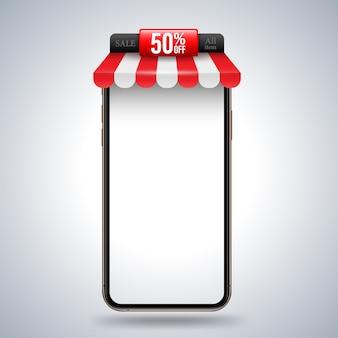 プロモーション広告用の屋上ショップバナー付きスマートフォン