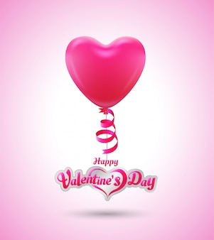 愛イベントポスターとカードのバレンタインデーのバルーンハート