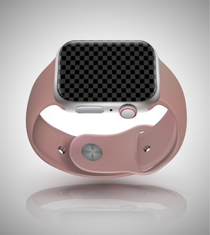 技術要素のスマートな腕時計モックアップ現実的なベクトルイラスト