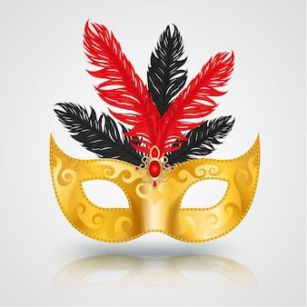 Золотая маска карнавальная с пером