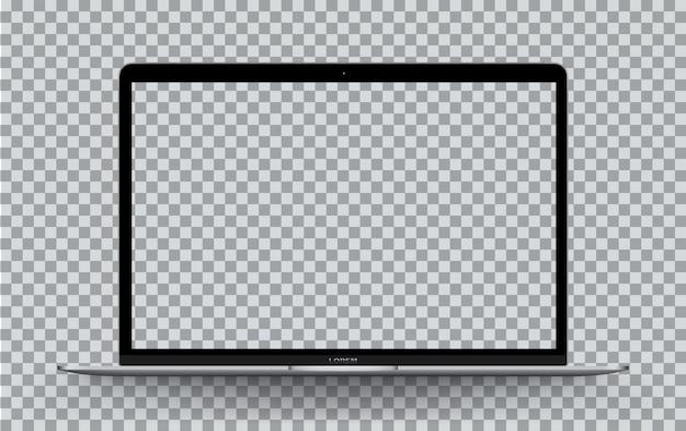 ラップトップの前面の透明な画面。