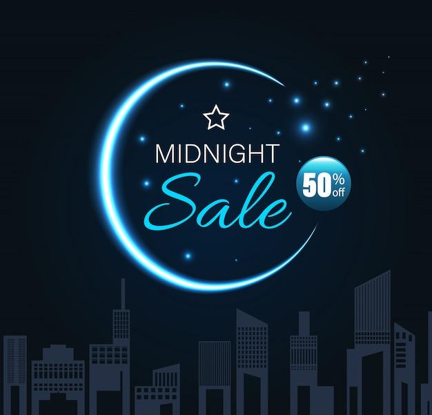 三日月と都市の夜のスタイルで真夜中の販売。