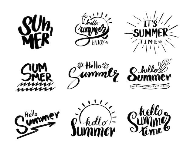 夏の書道デザインのためのレトロな手描きの要素。
