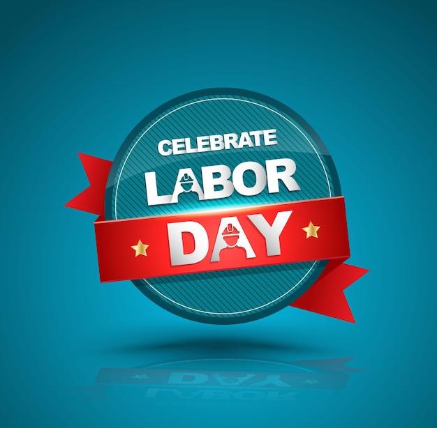 赤いリボンで労働日のバッジを祝う