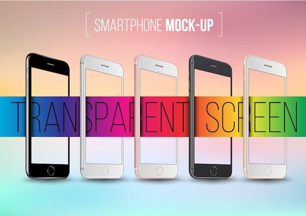 透明な画面を備えたスマートフォンコレクションモックアップ