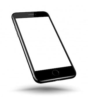 遠近法の黒いスマートフォンの現実的なモックアップ