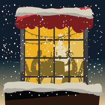 クリスマス、夜、ベクトル、イラスト