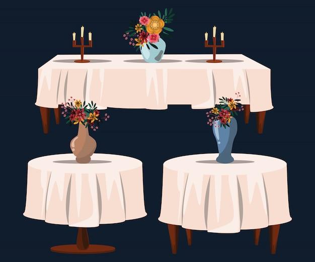 花、テーブル、ベクトル、イラスト