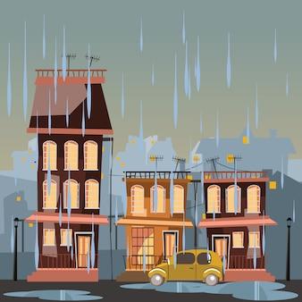 都市、雨、日、ベクトル、イラスト