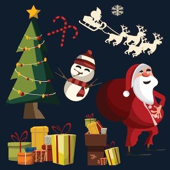 Рождественский набор векторных иллюстраций