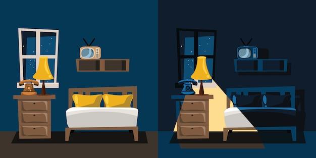 Спальня интерьер набор векторные иллюстрации