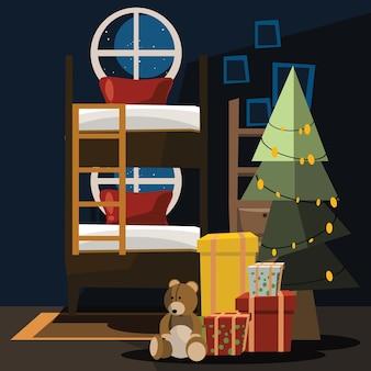 クリスマスのベッドルームのベクトル図