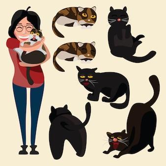 猫セットベクトルイラスト