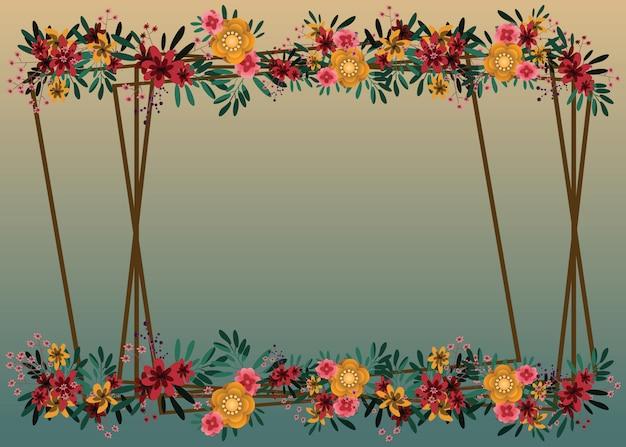 花とフレームの背景ベクトル図