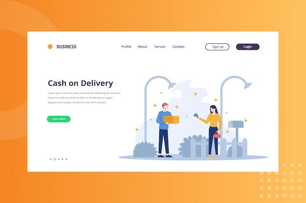Наложенный платеж иллюстрация доставки и концепция доставки на целевой странице