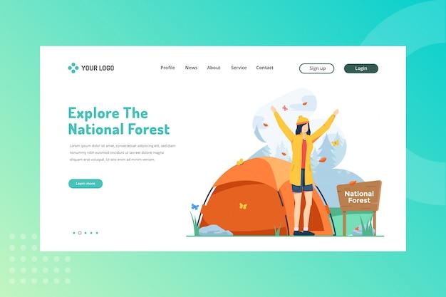 Изучите иллюстрацию национального леса для концепции путешествия на целевой странице