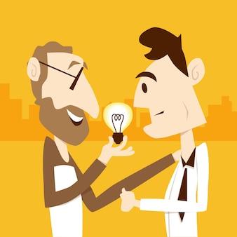 老人の上司は、ビジネスマンに電球のアイデアを与える