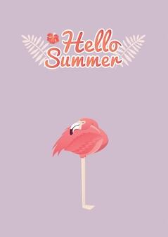 Дизайн иллюстрации птицы фламинго
