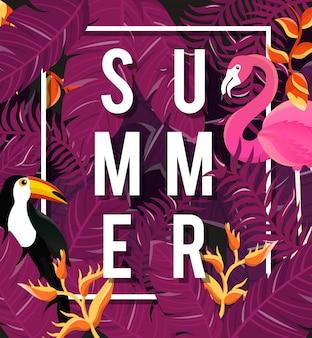 Фон тропических цветов. летний дизайн. вектор.